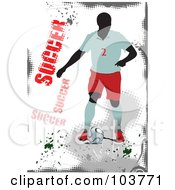 Royalty Free RF Clipart Illustration Of A Faceless Soccer Player On A Grungy Gray And White Background by leonid