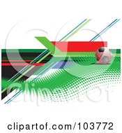 Red Soccer Ball On Halftone With Colorful Lines On White by leonid