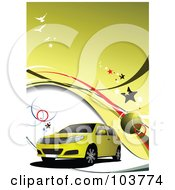 Royalty Free RF Clipart Illustration Of A Yellow SUV On A Yellow And White Background With Birds And Stars