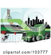 Royalty Free RF Clipart Illustration Of A Big Rig Background Of A Truck And City 4