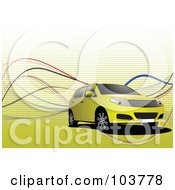 Royalty Free RF Clipart Illustration Of A Yellow SUV On A Yellow Halftone Background