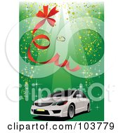 Royalty Free RF Clipart Illustration Of A White Car On A Green Background With A Red Ribbon Sparkles And Wedding Rings by leonid