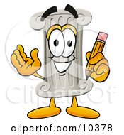 Clipart Picture Of A Pillar Mascot Cartoon Character Holding A Pencil
