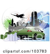 Royalty Free RF Clipart Illustration Of A Green Car On An Urban Background With A Plane