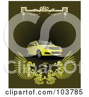 Royalty Free RF Clipart Illustration Of A Yellow SUV On A Green Background With Wedding Rings
