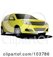 Royalty Free RF Clipart Illustration Of A Yellow SUV