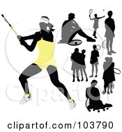 Royalty Free RF Clipart Illustration Of A Digital Collage Of Silhouetted Black Tennis Players by leonid
