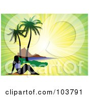 Royalty Free RF Clipart Illustration Of A Silhouetted Woman Sun Bathing On A Tropical Beach Over A Green And Yellow Ray Background