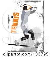 Royalty Free RF Clipart Illustration Of A Faceless Tennis Player Swinging On A Grungy Gray And White Background by leonid