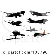 Royalty Free RF Clipart Illustration Of A Digital Collage Of Seven Red And Black Airplanes