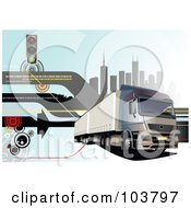 Royalty Free RF Clipart Illustration Of A Big Rig Background Of A Truck And City 2