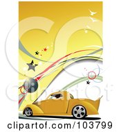 Royalty Free RF Clipart Illustration Of A Vintage Yellow Pickup Truck On A Yellow Background With Birds And Stars by leonid