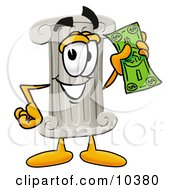 Clipart Picture Of A Pillar Mascot Cartoon Character Holding A Dollar Bill by Toons4Biz