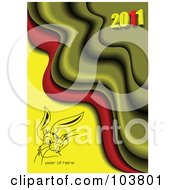 Royalty Free RF Clipart Illustration Of A Rabbit Face With Year Of Hare Text On A Yellow Red And Green 2011 Background by leonid
