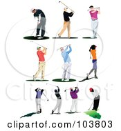 Royalty Free RF Clipart Illustration Of A Digital Collage Of Ten Faceless Golfers by leonid