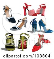 Royalty Free RF Clipart Illustration Of A Digital Collage Of Five Pairs Of Womens High Heels