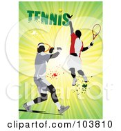 Royalty Free RF Clipart Illustration Of Two Faceless Tennis Players With Splatters On A Green Ray Background