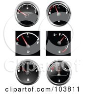 Royalty Free RF Clipart Illustration Of A Digital Collage Of Automotive Fuel Gauges by leonid