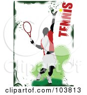 Royalty Free RF Clipart Illustration Of A Faceless Tennis Player Swinging On A Grungy Green And White Background by leonid