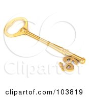3d Golden Skeleton Key With A Dollar Currency Symbol Tip