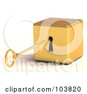 Royalty Free RF Clipart Illustration Of A 3d Gold Skeleton Key Preparing To Unlock A Block by Tonis Pan