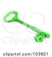 3d Green Skeleton Key With A Dollar Currency Symbol Tip