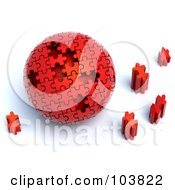 Royalty Free RF Clipart Illustration Of A 3d Red Puzzle Ball With Pieces Scattered Around It by Tonis Pan #COLLC103822-0042