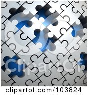 Poster, Art Print Of 3d Curved Gray Puzzle Surface With Blue Spaces Where Pieces Are Missing