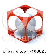Royalty Free RF Clipart Illustration Of A 3d Silver Sphere Inside A Red Cube