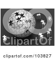 Royalty Free RF Clipart Illustration Of A 3d Silver Puzzle Ball With Pieces Scattered Around It