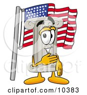 Clipart Picture Of A Pillar Mascot Cartoon Character Pledging Allegiance To An American Flag by Toons4Biz