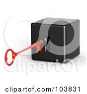 Royalty Free RF Clipart Illustration Of A 3d Red Skeleton Key Preparing To Unlock A Black Block by Tonis Pan
