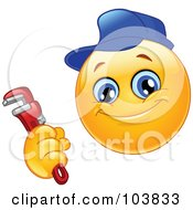 Royalty Free RF Clipart Illustration Of A Yellow Smiley Plumber Holding A Monkey Wrench by yayayoyo