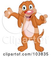 Royalty Free RF Clipart Illustration Of A Cute Hound Dog Standing Pointing And Presenting With One Paw by yayayoyo