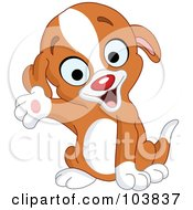 Royalty Free RF Clipart Illustration Of A Cute Puppy Smiling And Presenting With One Paw by yayayoyo