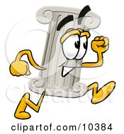Clipart Picture Of A Pillar Mascot Cartoon Character Running by Toons4Biz