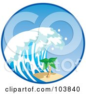 Royalty Free RF Clipart Illustration Of A Tsunami Wave Nearing A Palm Tree In A Circle by Rosie Piter