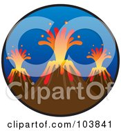 Royalty Free RF Clipart Illustration Of Three Volcanoes Shooting Out Lava In A Circle by Rosie Piter