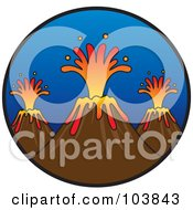 Royalty Free RF Clipart Illustration Of A Trio Of Erupting Volcanoes With Lava In A Circle