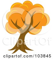 Royalty Free RF Clipart Illustration Of A Lush Mature Tree With Orange Foliage And A Curved Trunk