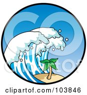 Royalty Free RF Clipart Illustration Of A Tsunami Wave Towering Over A Palm Tree In A Circle by Rosie Piter