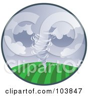 Royalty Free RF Clipart Illustration Of A Tornado Sweeping Across Farm Land In A Circle by Rosie Piter