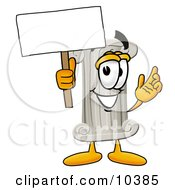 Pillar Mascot Cartoon Character Holding A Blank Sign