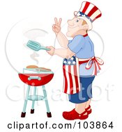 Royalty Free RF Clipart Illustration Of A Patriotic Caucasian American Man Cooking On A Barbecue