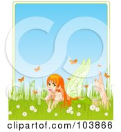 Royalty Free RF Clipart Illustration Of A Pretty Red Haired Fairy Laying In Grass Surrounded By Flowers And Butterflies With Blue Text Space