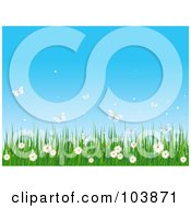 Royalty Free RF Clipart Illustration Of White Butterflies And Wild Flowers With Grass Against A Blue Sky
