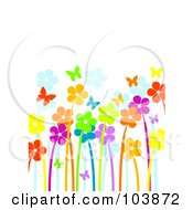 Royalty Free RF Clipart Illustration Of A Garden Of Vibrant Flowers And Butterflies