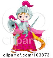 Royalty Free RF Clipart Illustration Of A Cute Medieval Knight Boy On His Steed by Pushkin