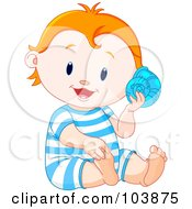 Royalty Free RF Clipart Illustration Of A Happy Beach Baby Boy Listening To A Shell by Pushkin