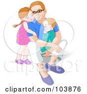 Royalty Free RF Clipart Illustration Of A Little Girl Hugging Her Dad From Behind As He Holds Her Little Brother by Pushkin